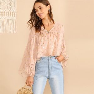 Tops - Gold Polka Dot  V Neck Crop Tops